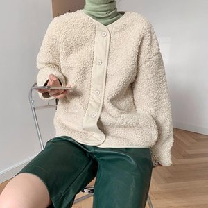 Yeeloca Winter Thickened Lamb Wool Short Coat Women's Casual Single-breasted Solid Coat Korean Straight Loose Warm Winter