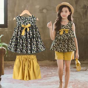 Girls summer suits big virgin Korean children's sports sleeveless two-piece floral skirt 2020 summer new children's clothing