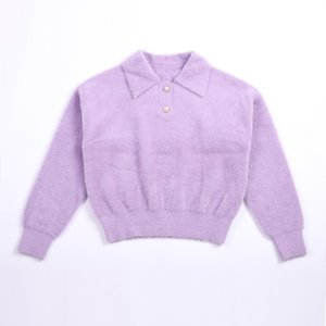 MS Novo Outono / Inverno Linda Turtleneck Sweater Moda Candy Color Coat Lapels
