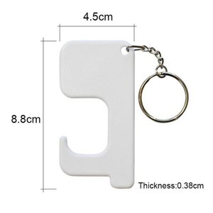 Sublimation Keychain Non-contact Door Handle Keychain Plastic DIY Blank Key Rings Safety Touchless Door Opener party favor YYB3557