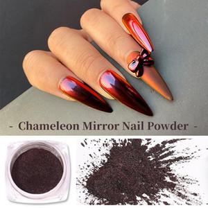 0,3 г / коробка Chameleon Nail Powder Aurora Зеркало эффект гвоздики блестки хромированные пигментные подсказки для украшения гель полировальная пыль