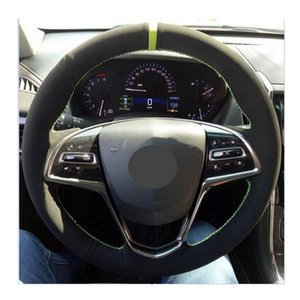 Hand-stitched Leather Steering Wheel Cover For Cadillac ATSL,DIY Steering Wheel Cover For car Universal 15 inch