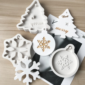 Silicone Bakeware Molds For DIY Snowflake Christmas Tree Hanging Baking Tool Kids Keychain Perfume Car Pendant Cake Decoration KKB2768