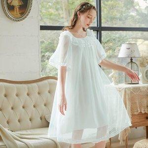 Wasteheart Kadınlar Moda Mavi Yeşil Seksi Pijama Gecelik Örgü Gecelikler Sleepshirt Nightgown Pijama Lüks Bayan1
