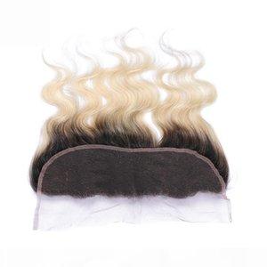 1b 613 loira ombre vento virgem peruana onda 13x4 laço completo pedaços frontais loira ombre cabelo humano lace frontal fechamento branqueado nós