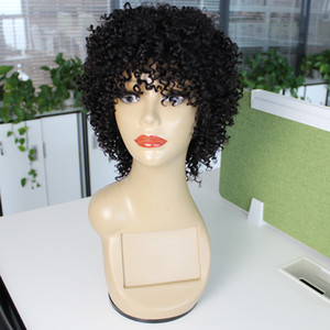 Kisshair Jerry Curl Curta Máquina de Peruca de Cabelo Humano feita Glueless Perucas Bouncy Curly Brazilian Hair Wigs para mulheres