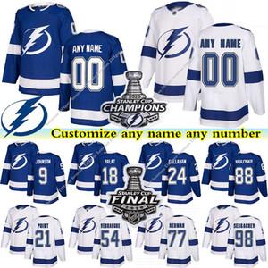 Tampa Bay Lightning jerseys 91 Steven Stamkos 86 Nikita Kucherov 77 Victor Hedman 21 Brayden Point custom any number any name hockey jersey