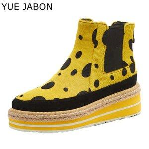 YUE JABON Rouge Jaune Bottines Femmes d'hiver Outdoor Leopard chaud Chaussures Femme 5.5cm Plateforme Femmes Casual Zapatos de mujer