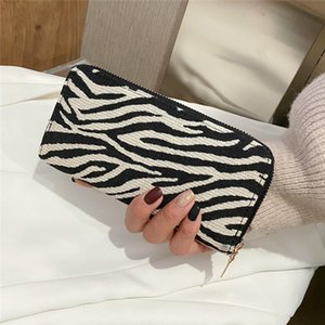 Women's Fashion Wallet Rectangle Long Zippered Handhold with Zebra print Money Clip Card Holder purse