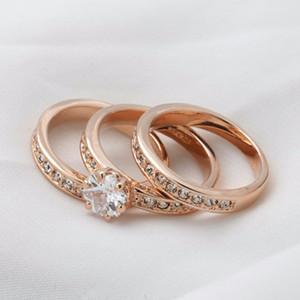 خواتم الخطبة لحضور حفل زفاف زركون مجموعات CZ الحجر الدائري مجموعة مجوهرات مقلدة لخواتم الزفاف النساء