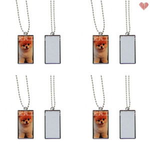 Sublimation Blanks Pendant Double Sided Printable Drawing Necklace Rectangular Metal Chain Female Male Accessory Classic Gift 3 33bf N2