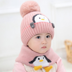 Baby Beanies Hat Kids Animal Design Knit Pom Pom Hat And Ring Scarves 2020 Winter Girl Boy Warm Cap 1-3T Child Wear C0009