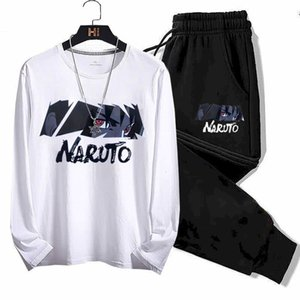 Casual sportswear spring autumn new men's suit long-sleeved T-shirt nine-point pants middle school students teenagers printing 1004