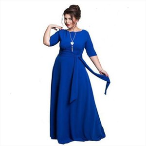 2020 Autumn 5xl 6xl Plus Size Women Dress Big Size Winter Long Dress Belt Maxi Half Sleeve Elegant Evening Party Vestidos