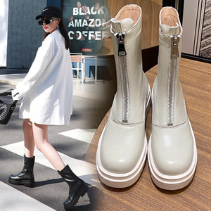 INS Women ankle boots natural leather upper 22-25CM European and American fashion Front zipper guidi boots shoes woman 1026