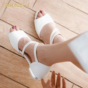 SarIris Young Flower Decoration Chunky Heels Belt Strap Open Peep Toe Summer Shoes Woman Sandals Large Size 30 44 Mens Boat Shoes Boat KZSg#