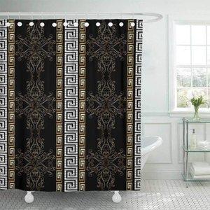 Ganchos de cortina de chuveiro de tecido listrado barroco antique preto vintage vintage damasco florescer folhas de rolagem ouro1
