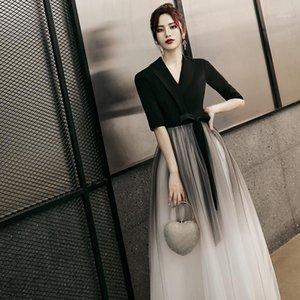 Lux Angner 2020 Moda Kore Tarzı Kadın Elbise V Yaka Siyah Ayak Bileği Uzunlukta Kadın Degrade Elbiseler Kadın Giyim1