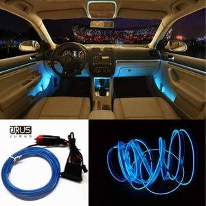 JURUS 3Meter مجددة الإضاءة الداخلية 12V النيون قطاع ش الباردة أضواء ليلة الشريط الوهج الديكور الأنبوبة الخفيفة مع ولاعة السجائر في السيارة