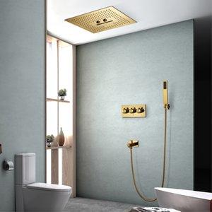 Doccia LED Systems 16 pollici di pioggia del Capo Panel Bagno Ti-PVD Oro doccia Rubinetti Set acciaio inox 304