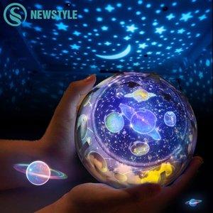 Sky Sky Night Light Planet Magic Projector Earth Universe LED مصباح ملون تدوير اللمعان ستار أطفال هدية عيد الميلاد 201031