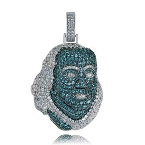 New ICED OUT Franklin Famous figure Pendant Necklace Cubic zircon Stones Hip Hop Men Women Jewelry Gift