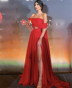 Prom Dresses Red Sleeveless A-Line Evening Side Slit Chiffon Pleated Crystal Prom Dresses vestidos de fiesta de noche