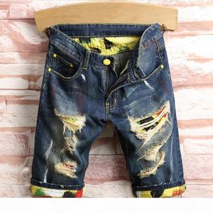 New Arrival Summer Mens Holes Denim Shorts Fashion Men Stylist Denim Jeans Slim Straight Pants Trend Mens Stylist Pants