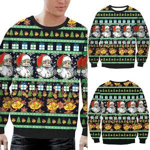 Natal Sweater Homens Santa Claus Imprimir camisola de malha Casal Preto