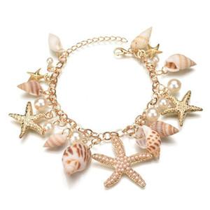 Acessórios Style Ocean novidade Intenice Starfish Conch Shell Pérola cadeia Multi Sea Star Beach Bracelet Mulheres Bangle Pulseiras