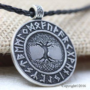 10pcs Norse Vikings Runes Amulet Pendant Necklace The Tree of Life Runes PENDANT Necklace Nordic Talisman Y1220