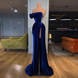 Royal Blue Velvet Evening Dresses Thigh High Slit One Shoulder Pleats Mermaid Prom Gowns Women Red Carpet Celebrity Dress