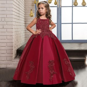 Autumn Winter Red Girl Party Dress Kids Clothes For Children Clothing Wedding Princess Evening Dress 10 14 Y Vestidos