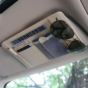 Freeshipping Car Vehicle Sun Visor Sunglasses Eyeglasses Glasses Holder Clip Credit Card Package ID Storage Bag Visor CD Case With 2 Color