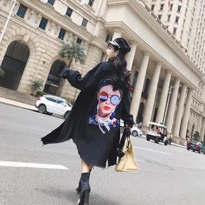 2020 élégante à capuchon unique poitrine Jeans Veste Cowboy Femme manches longues Bomber Vestes longues Denim Casual Printemps noir