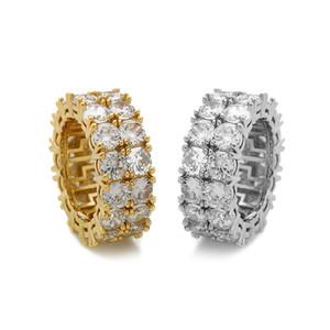 Herren Hip Hop Goldringe Schmuck Neue Mode Gold Silber Ring Simulation Diamant Iced Out Ring 308 N2