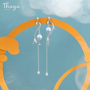 Kadınlar Nişan Hediye Güzel Takı için Thaya% 100 S925 gümüş küpe Püsküller Denizkızı Bırak Dangle Damla Küpe Charms