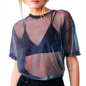 Summer Sexy Mesh T Shirt Women Short Sleeve Shirt Crew Neck Womens Loose Transparent Tees Tops Hollow T