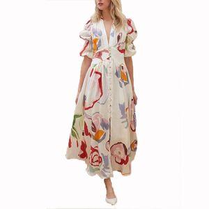OMILKA Printed Chiffon Beach Dress 2020 Autumn Women Puff Sleeve V Neck Front Button Big Swing Long Maxi Vestidos Femininos
