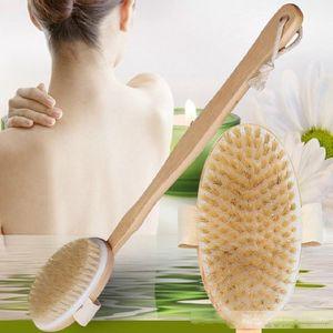 Wooden Natural Bristle Body Brush Massager Bath Shower Brush Long Handle Back Spa Scrubber Free Shipping