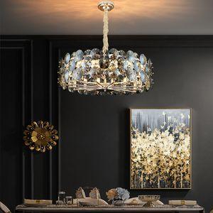 Modern Chandelier Lighting Per Soggiorno fumo grigio cristallo Lampade rotonde Catene Lampadari decorazione domestica Light Fixtures CA 100-240V
