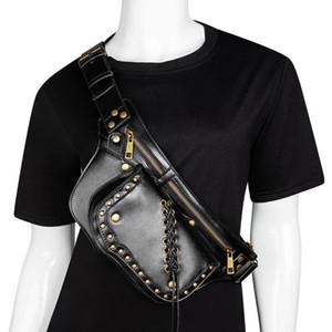 Johnature Steampunk المرأة الخصر حقيبة 2020 جديد الهاتف المحمول حقائب الكتف الصغيرة الأزياء برشام موتو biker في الهواء الطلق رسول حقيبة