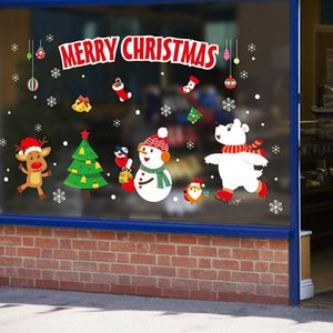 1set Merry Christmas Wall Stickers Window Door Glass Festival Decals Santa Murals New Year Xmas Decorations For Home Decor jllJQX homecart