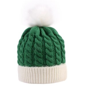 Infant Kids Baby Christmas Pompom Beanie Hat Chunky Cable Knit Cuffed Skull Cap