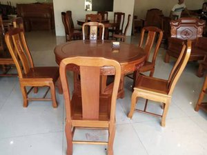 Mahogany round table without carvings, round table and table legs can be separated (can be matched with turntable)
