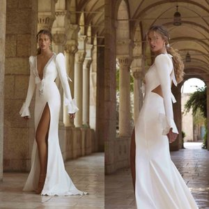 2021 Berta Long Sleeve Wedding Dresses Beading Satin Backless Deep V Neck Mermaid Bridal Gowns High Side Split Robe De Mariage