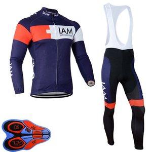 Iam Team Mens Ciclismo Jersey Manga Longa 9D Pad Pad Bib Calças Set Primavera / Autum MTB Bicicleta Roupas Bicicletas Outfits Ao Ar Livre Sportwear S122811