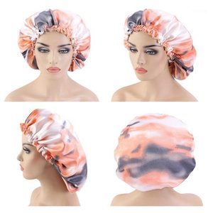 Women Solid Sleeping Caps Hair Care Bonnet Nightcap Silk Night Cap Double Adjustable Satin Shower Cap1