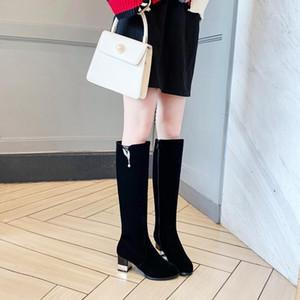 Mid-Calf Boots Handmade Shipper Квадратный каблук Обувь повседневная твердая высокая каблука женская ткань + кожаные кожаные сапоги элегантный большой размер 33-431