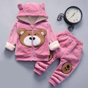 Melario Bebek Boys Giyim Seti Pamuk Sıcak Suit Ayı Karikatür Baskı yastıklı Triko Bebek Kız Giyim Kapşonlu Çocuk Giyim 201026
